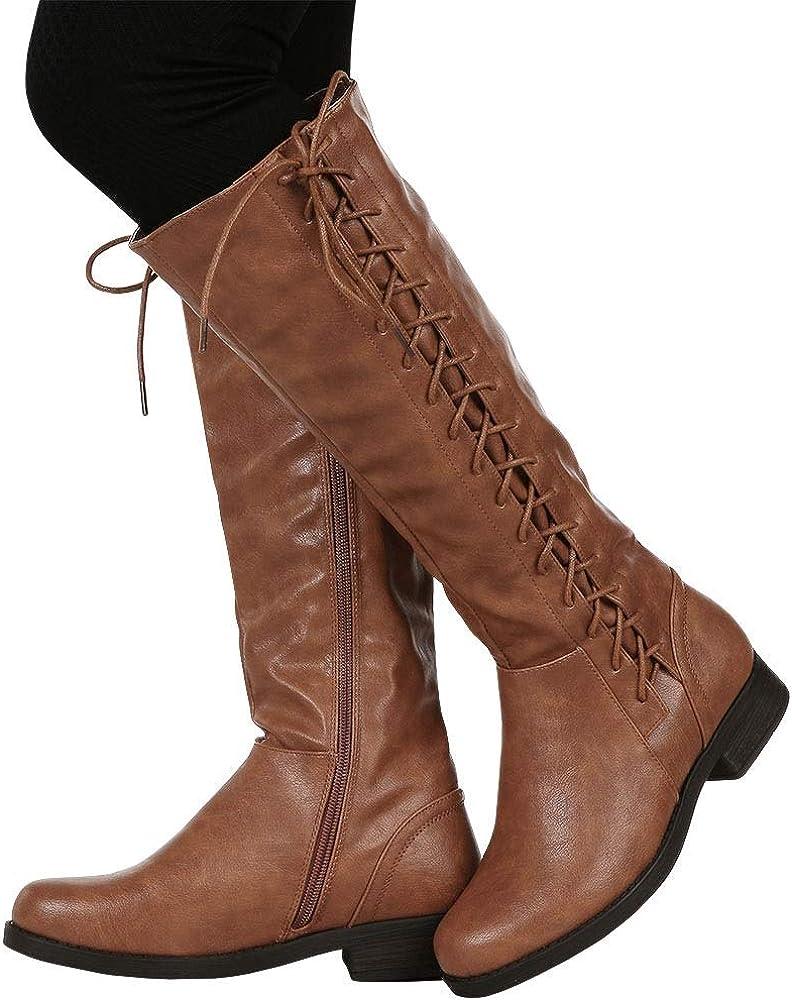 Dellytop Womens Wide Calf Riding Boots