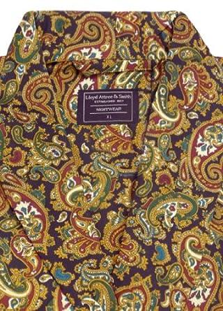 Men\'s Luxury Dressing Gown - Lightweight Mock Silk - Navy Paisley ...