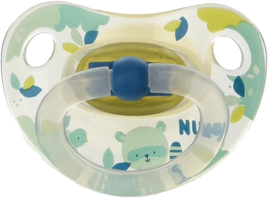 NUK 2 Sucettes Physio Latex Transparente Happy Taille 3 Coloris al/éatoire
