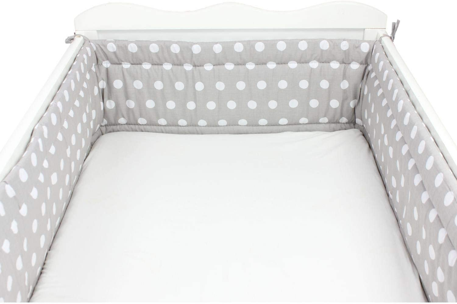 Cot 120x60 cm TupTam Baby Cot Bumper All Around Padded Bed Protection Bear Stars//Gray 360x30 cm