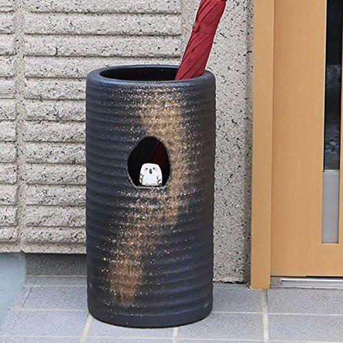 信楽焼 ふくろう付き傘立て しがらき焼 笠立て 陶器 おしゃれ kt-0111 B01N5NVMXK