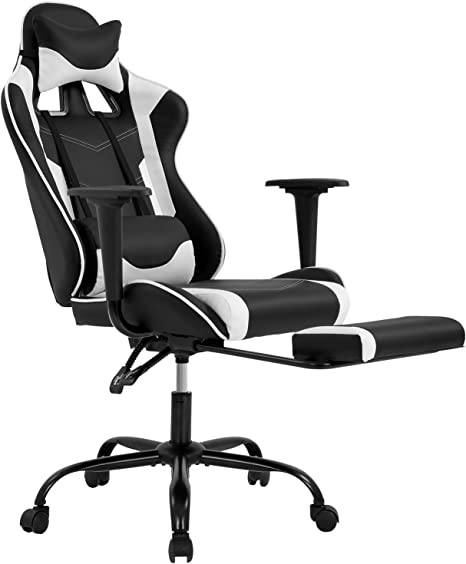 Renewed Racing Style Chair BestMassage Office Desk Gaming Chair High Back Computer Task Swivel Executive Racingchair for BackSupport with Lumbar Support Adjust Armrest