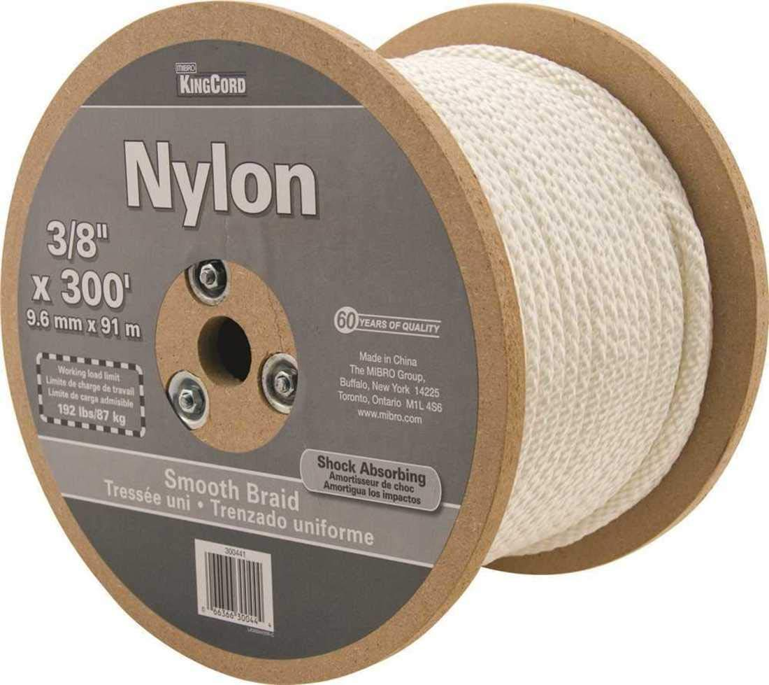 KingCord 300441 3/8 in. x 300 ft. White Smooth Braid Nylon Rope - 192 lbs Safe Work Load - Reeled by KingCord