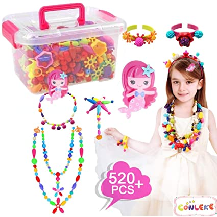 Amazon Com Conleke Pop Snap Beads Set 520 Pcs For Kids Toddlers