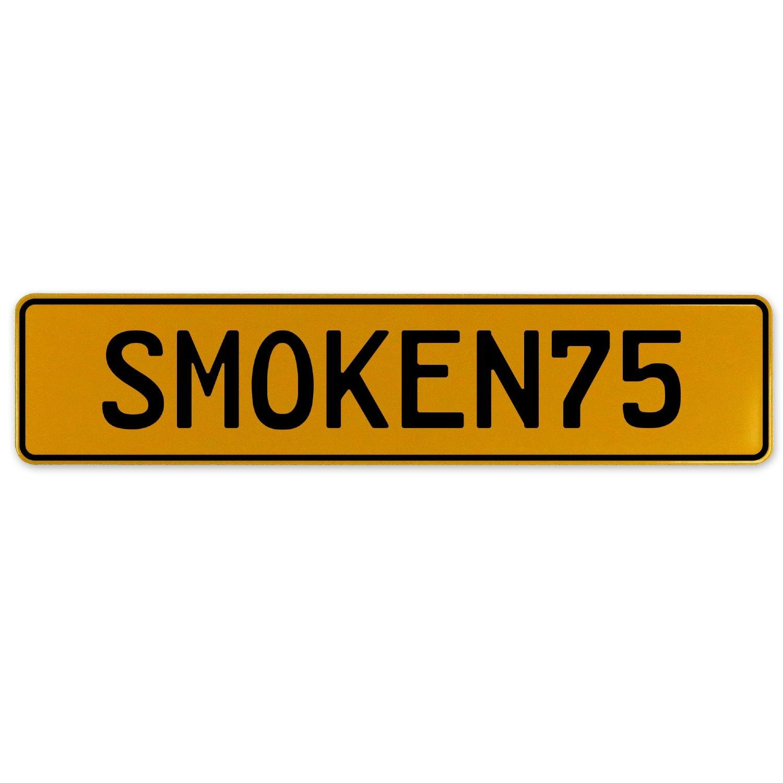 Vintage Parts 561306 SMOKEN75 Yellow Stamped Aluminum European Plate