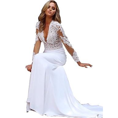 71662306619b DingDingMail 2019 Sexy Deep V Neck Wedding Dresses Mermaid Lace Long  Sleeves Chiffon Illusion Wedding Dresses Bridal Gowns at Amazon Women's  Clothing store: