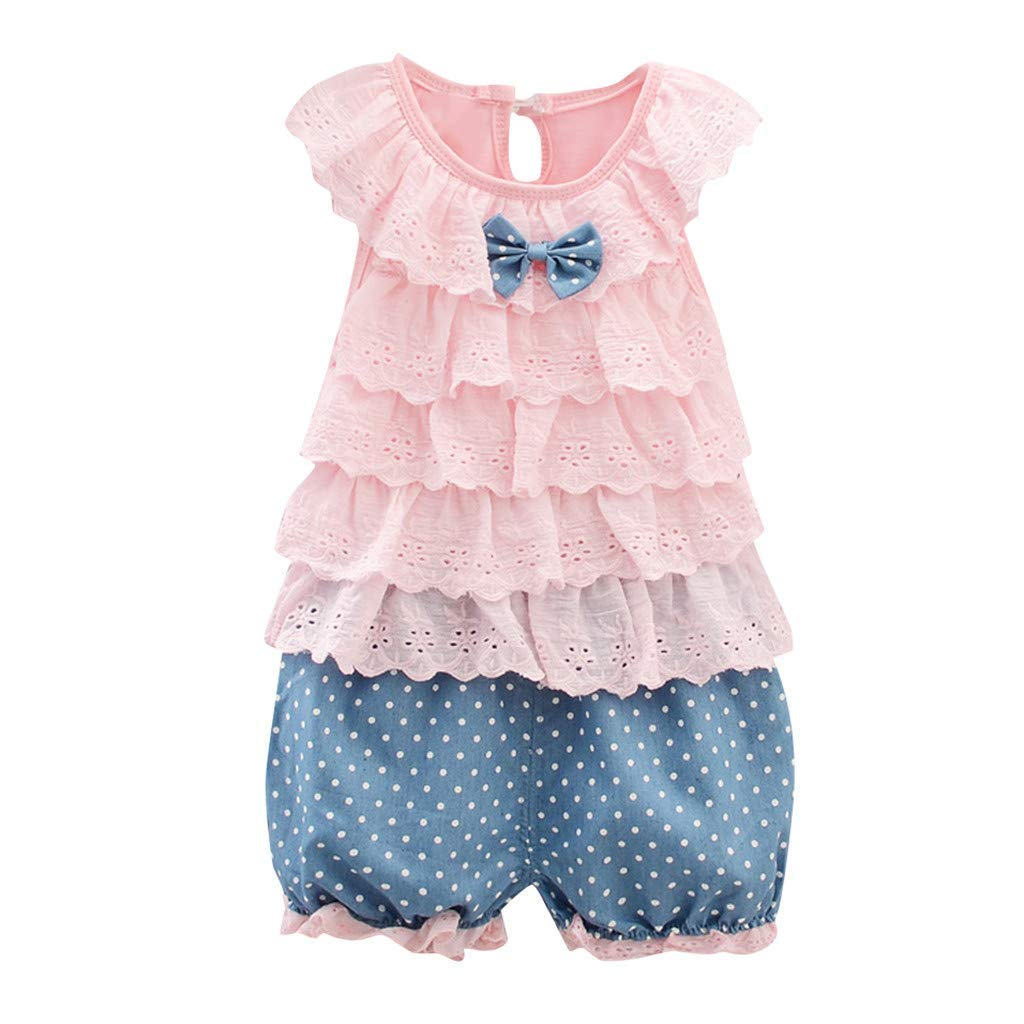 Fashion New Infant Baby Girl Summer Clothes Cute Solid Sleeveless Flower Edge Bow Tops+Dot Shorts Pants Outfit Set Pink 6-12 M