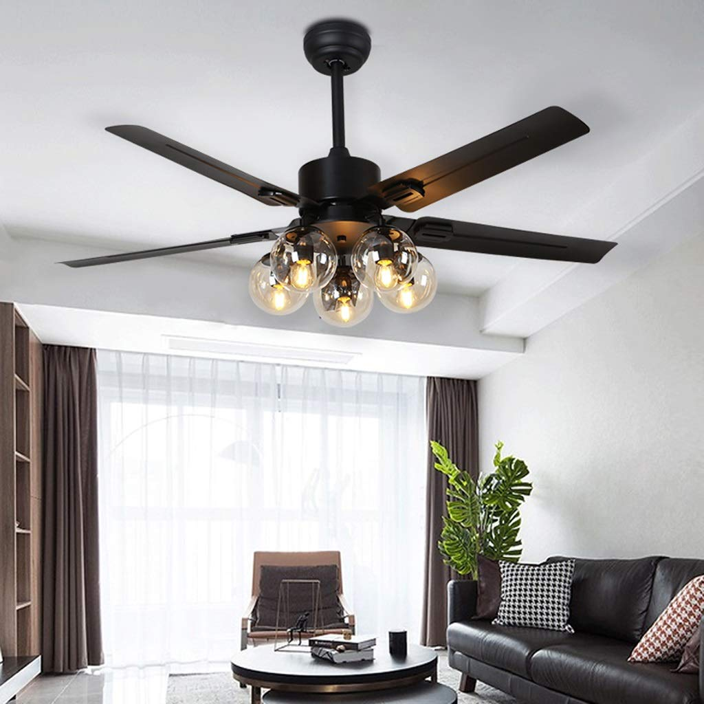 lampade a Sospensione e plafoniere Soggiorno Ventilatore a soffitto in Ferro battuto Luce Luce Ventilatore Ristorante Home Retro lampadario con Ventilatore Creativo Fagiolo Magico soffitto Ventilator