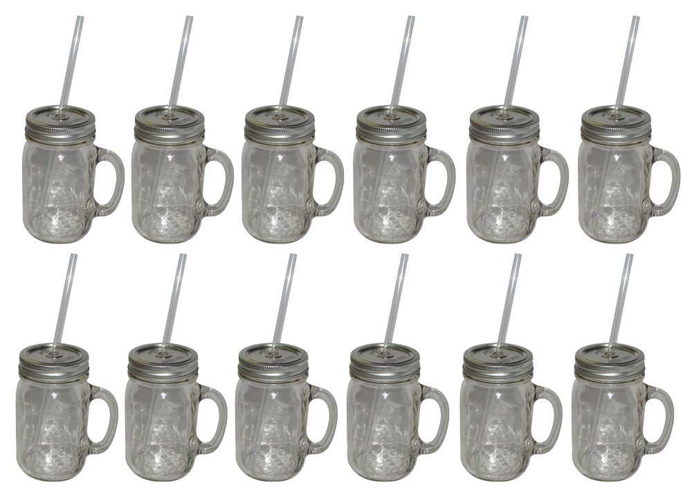 Southern Homewares 12-Pack Redneck Sipper Handle Drinking Jar, 16-Ounce by Southern Homewares (Image #1)