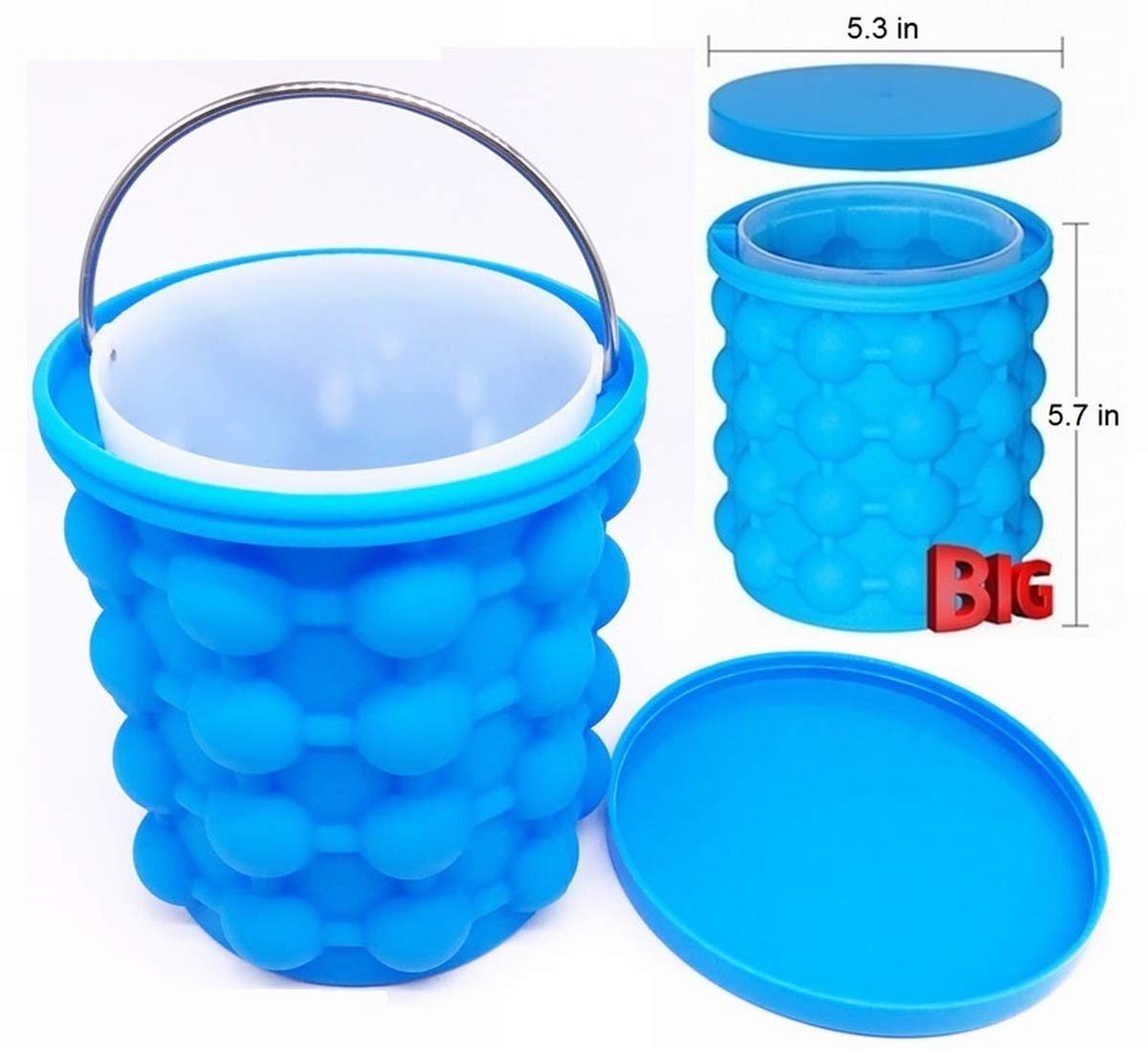 New Ice Cube Maker Genie Silicone Large (5.7 x 5.3 inch) Mold Igloo Ice Balls Maker Space Saving Outdoor Portable Cooler Unique Double Chamber Design Ice Kitchen Tool CILINDER with Seal by Green_Mall