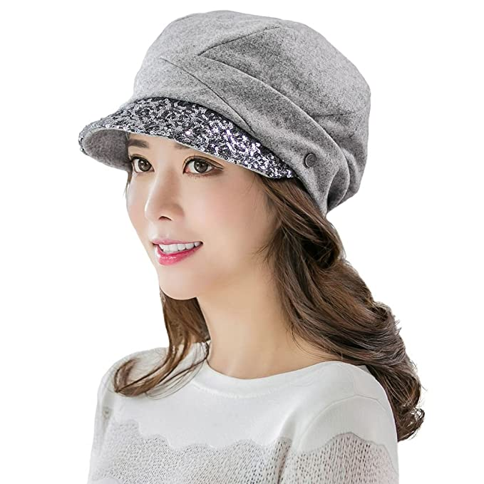 011f955c6dae4 Siggi Womens Wool Newsboy Cabbie Cap Winter Cloche Beret Mod Caps Hat Grey