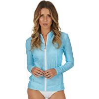 Cat&i Womens Rashie Rash Guard Long Sleeve Zip Front UPF 50+ Sun Protection River Blue (Sizes 8-20)