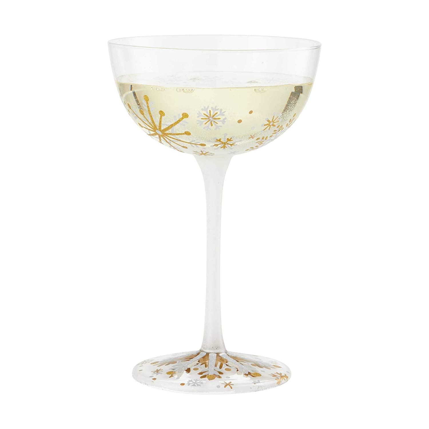 Enesco 6004439 Designs by Lolita First Snowflakes Cocktail Coupe Glass 9 Ounce Multicolor