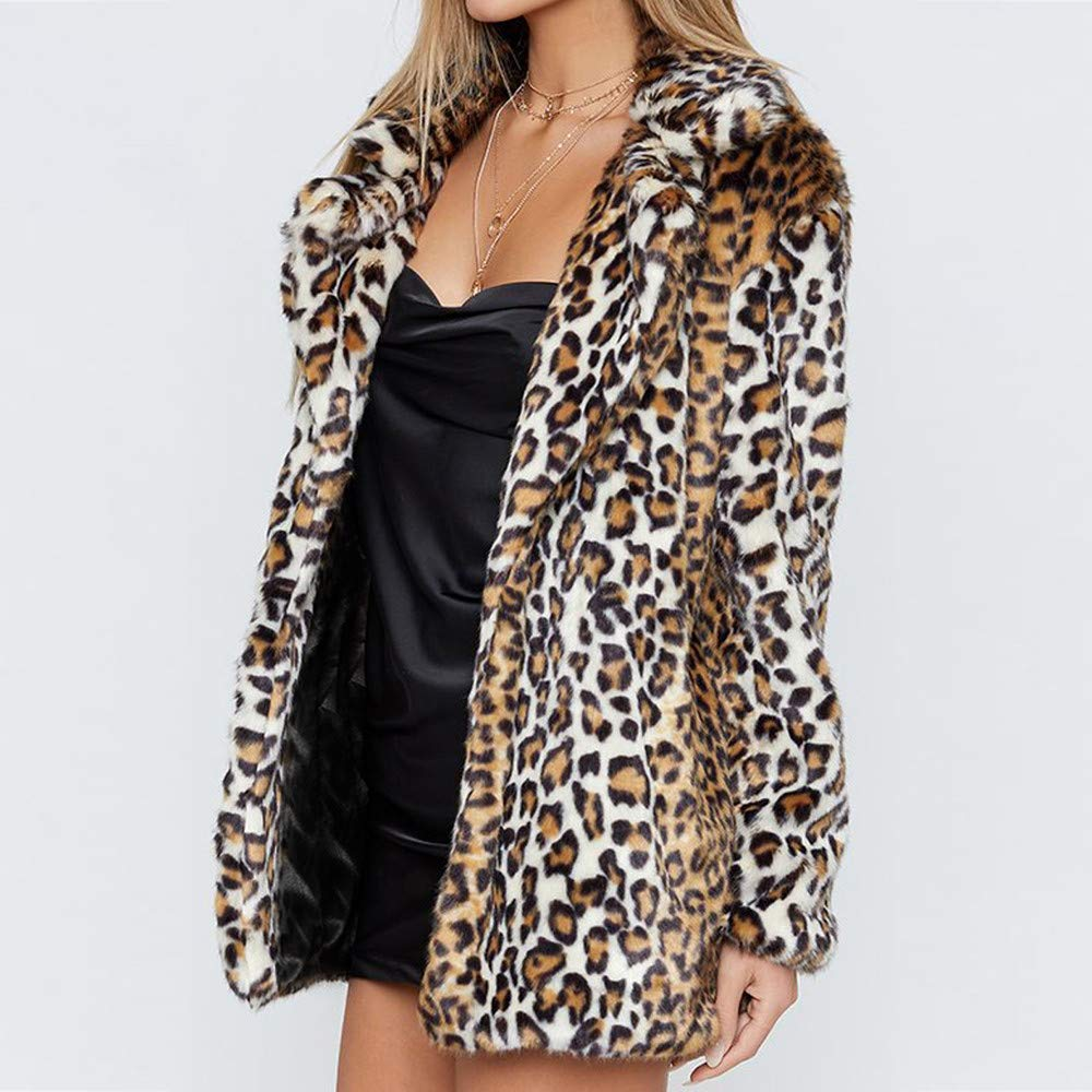 Amazon.com: BETTERUU UFACE Womens Leopard Warm Artificial Wool Coat Lapel Jacket Winter Parka Outerwear: Clothing
