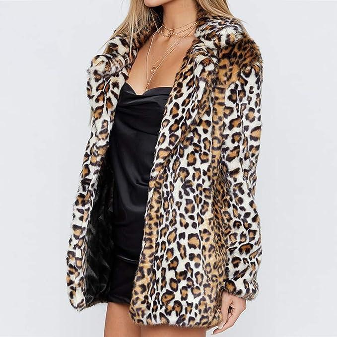 Beladla Abrigos Mujer Invierno Chaqueta De Piel Abrigo Tres Cuartos De Piel SintéTica Y Solapas con Estampado Vintage De Leopardo para Mujers: Amazon.es: ...