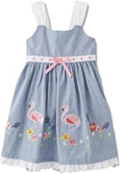 2c7e6f21111 Blueberi Infant   Toddler Girls Embroidered Flamingo Dress Chambray Sundress
