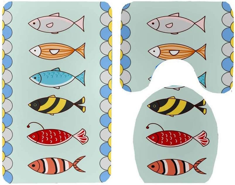 Non Slip Absorbent Toilet Lid Cover Fish in red U Shaped Contour Rug ESUPPORT Bathroom Mat Set 3 Pieces Soft Comfort Polyester Bath Rug