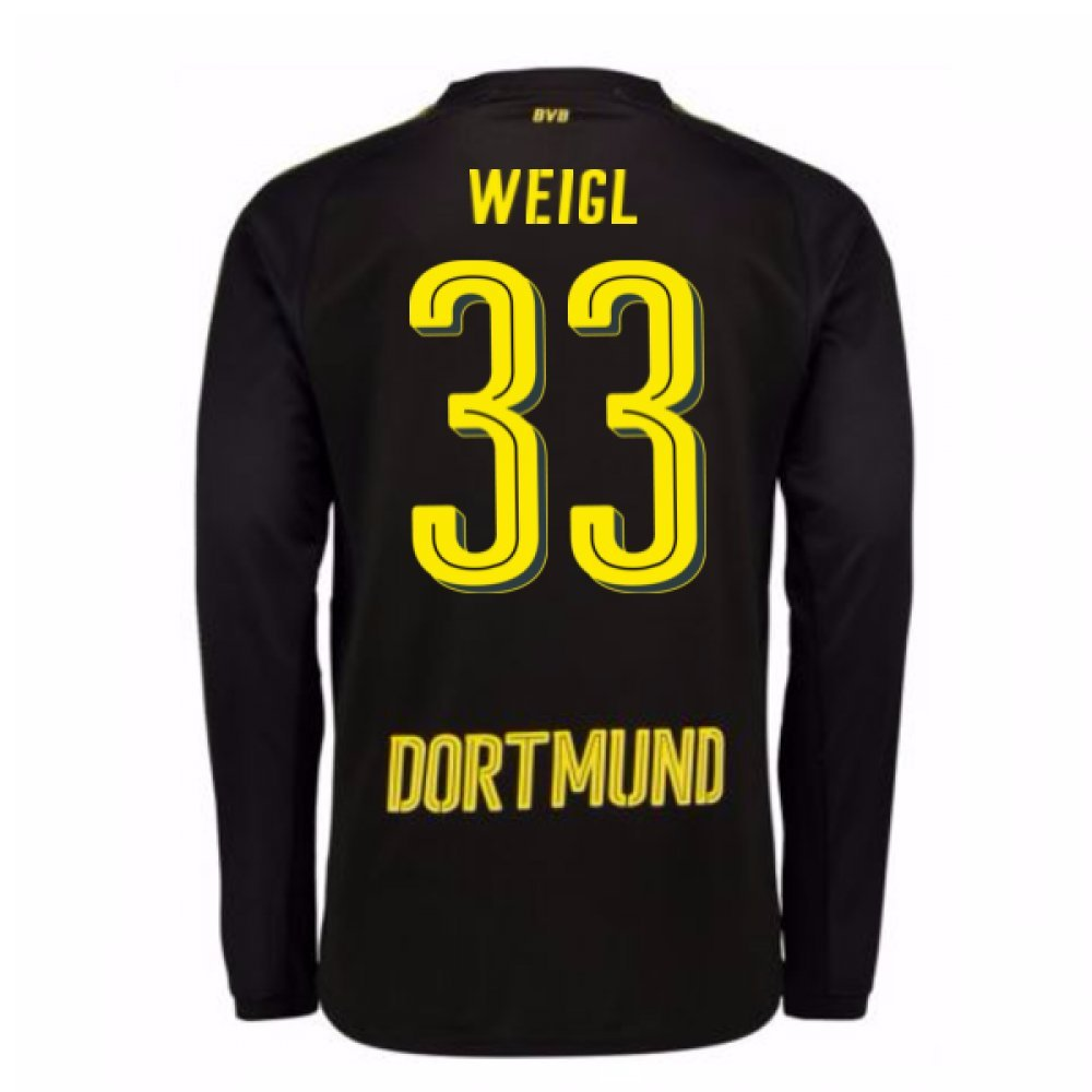 2017-18 Borussia Dortmund Away Long Sleeve Shirt (Weigl 33) B076D6LF6JBlack XL Adults