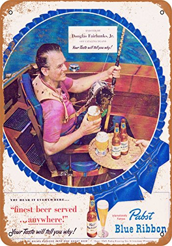 Wall-Color 9 x 12 Metal Sign - Pabst Blue Ribbon and Fishing - Vintage Look