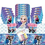 Frozen Party Supplies Pack Serves 16: Dinner Plates Luncheon Napkins Cups and Table Cover with Birthday Candles