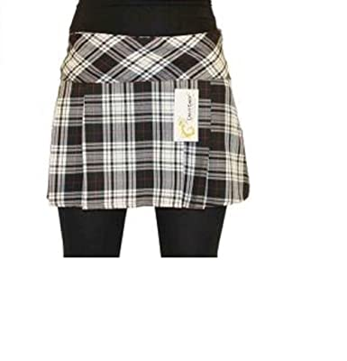 4c8db67bd2da 14 Inch Women's Sexy Pleated Tartan Skirt Schoolgirl Fancy Dress Costume ( Black, Grey &