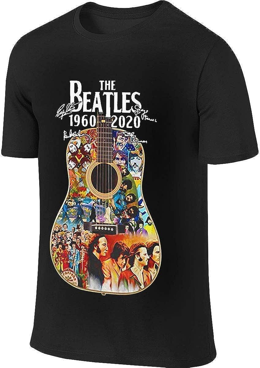XCxBlAN Herrens T-Shirt The Beatles Guitar 1960-2020 Signature Musterdruck Schwarz XXXX-Large