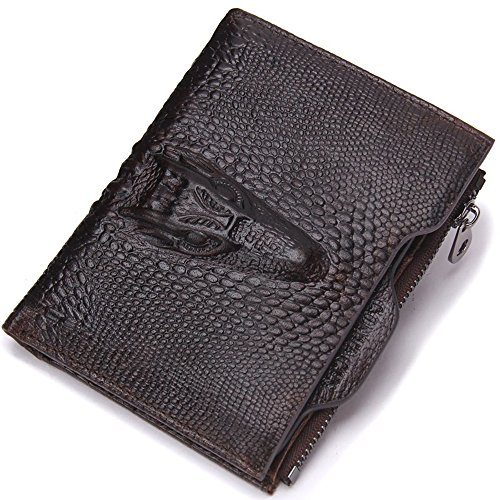 Purse Genuine Brown1 zipper Crocodile Short Pattern Leather with Brown HYSENM Dark Men Wallet SA0qqwE