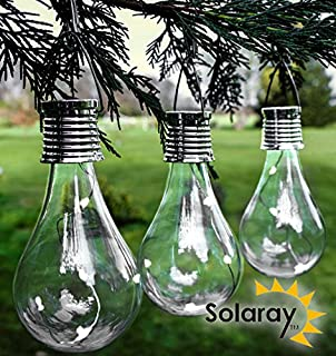 6 x ornamental light bulb firefly hanging solar powered outdoor decorative hanging solar bulb garden lights pack of 3 by solaray aloadofball Images