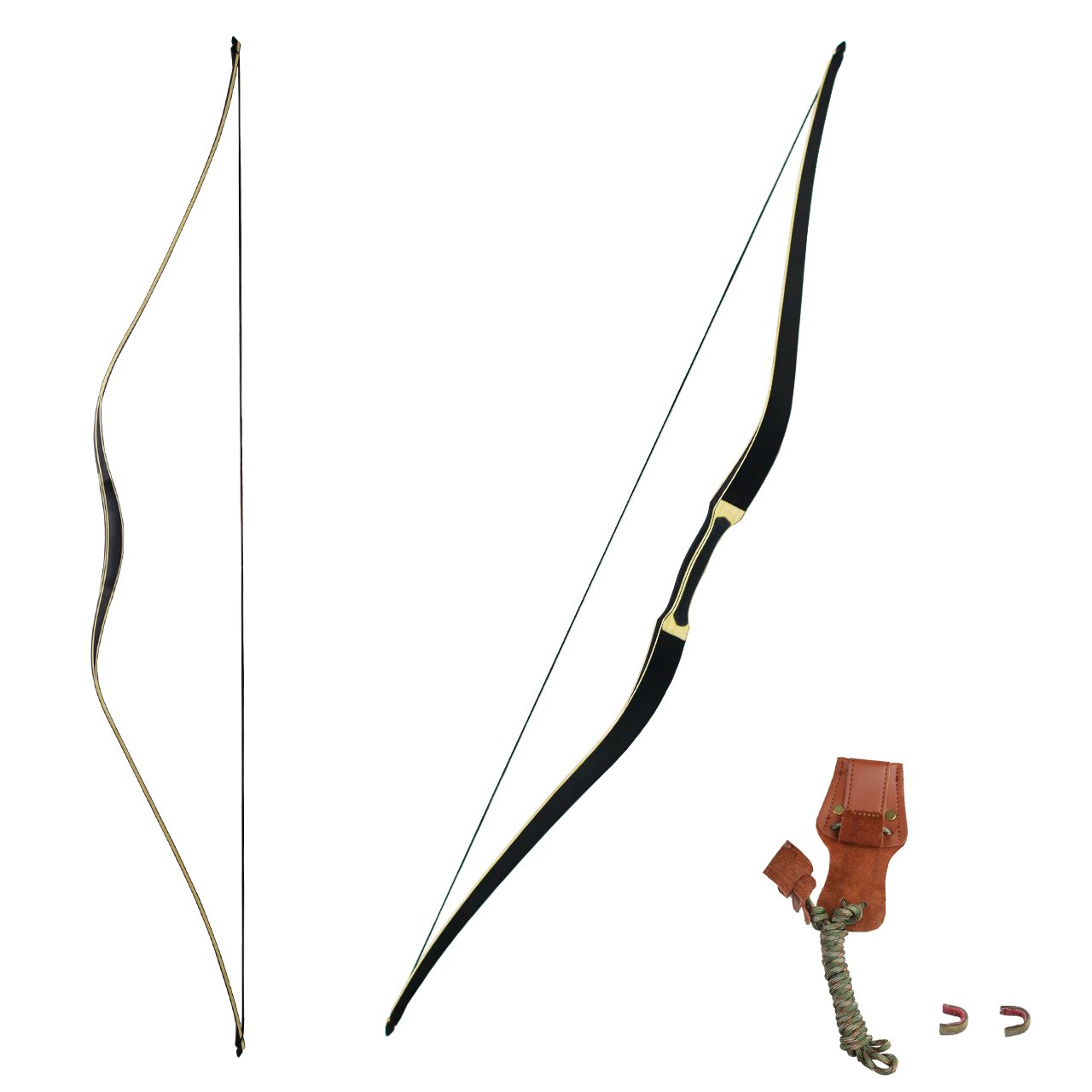 SinoArt Longbow 58'' One Piece Horsebow with Stringer Tool String Nocks (30Lbs) by SinoArt