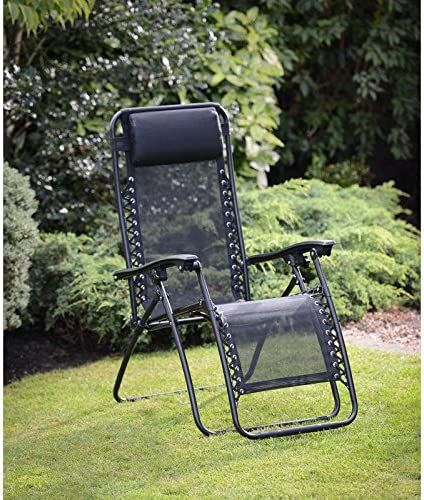 HK: NEW TEXITLENE ZERO GRAVITY DELUXE RELAXER CHAIR AND BLACK PILLOW WEATHER RESISTANT