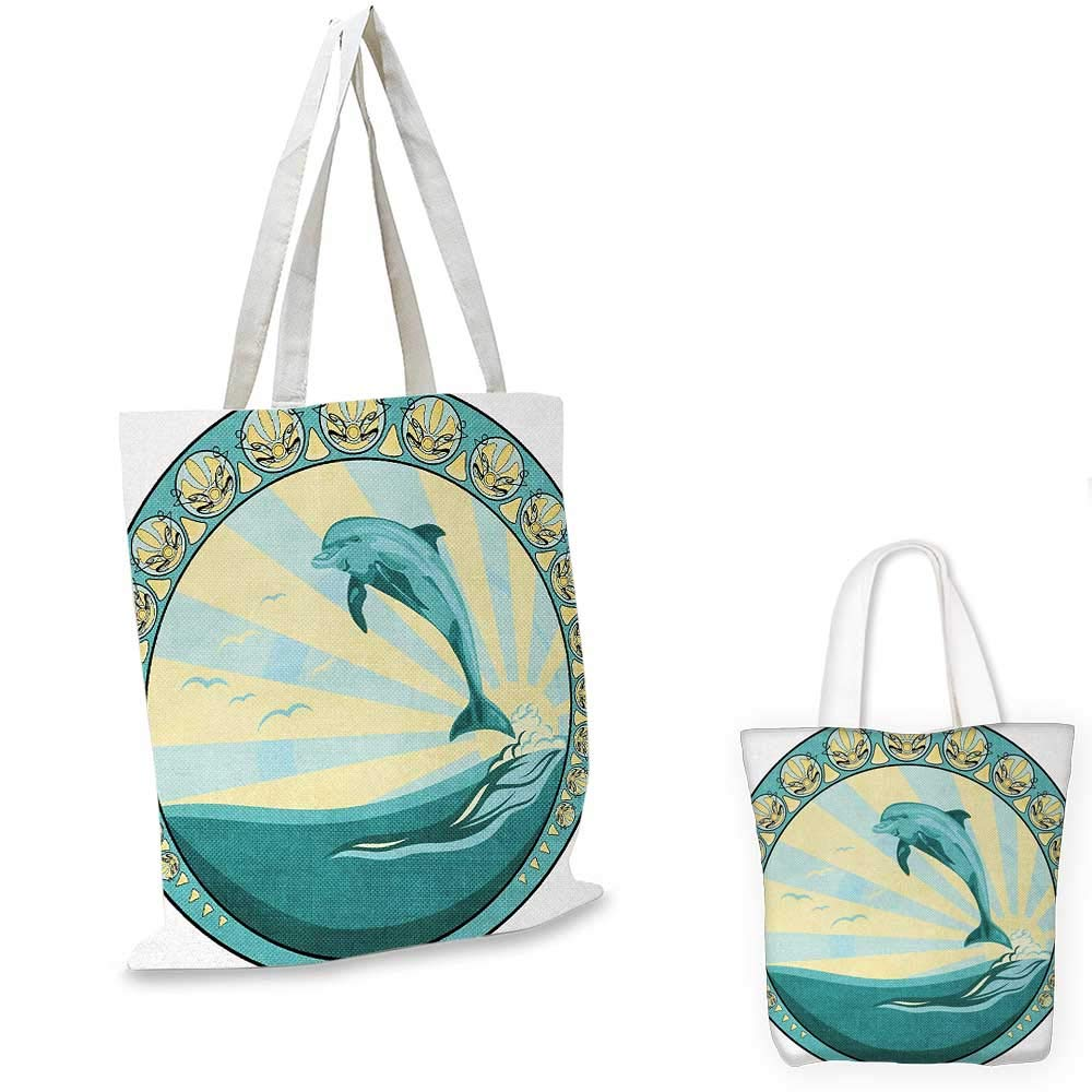 Dolphin canvas messenger bag Aquatic Mammal Jumping out of the Sea the Sun Behind Its Back Ethnic Frame canvas beach bag Teal Yellow Black 12x15-10
