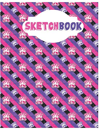 Sketchbook: Cute Skull Sketchbook for Adults/Children to Sketching, Whiting, Drawing, Journaling and Doodling, Large (8.5x11 Inch. 21.59x27.94 cm.) 120 Blank Pages (PURPLE&PINK&WHITE Pattern)]()