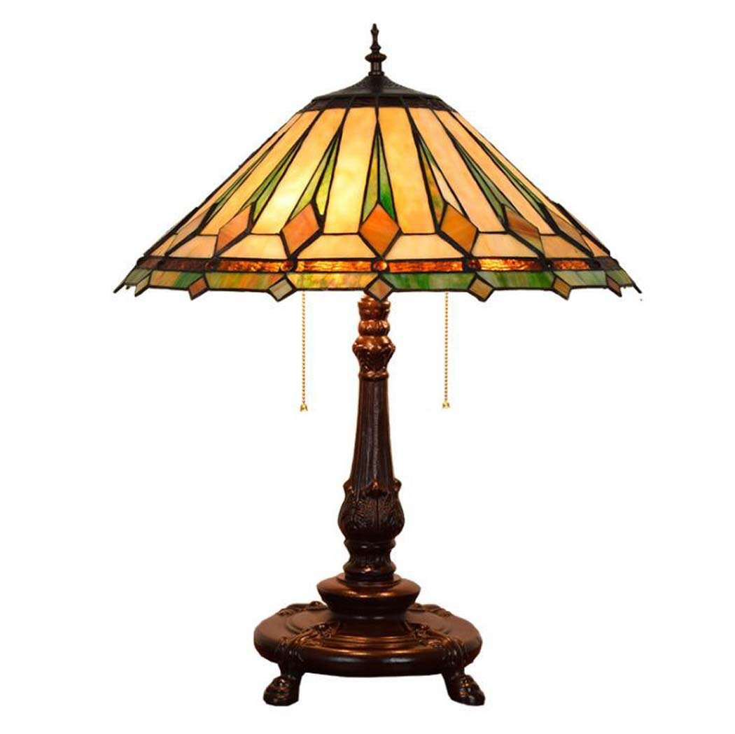 Tiffany Style Table Lamp ,16-inch Stained Glass Art Desk Lamp With Zipper Switch, Euro-style Creativity Living Room Dining Room Bedroom Bedside Decoration Big Table Lamp E27 (without Light Source) GA
