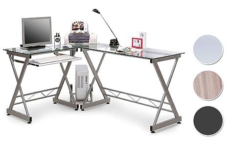 Sixbros office scrivania porta pc vetro argento ct
