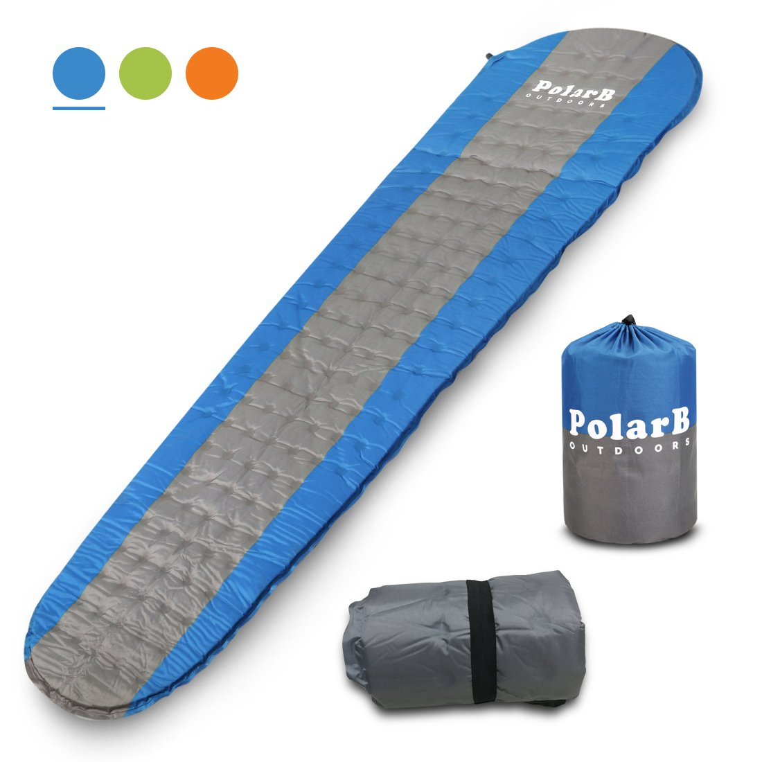 PolarB VVIP Self Inflating Sleeping Pad for大人&子供 – Largeサイズで、Great forバックパッキング、キャンプ&ハイキング – プレミアム素材、Thick Foam Padding、コンパクト、軽量、丈夫、Insulated B074N18XD4  ブルーグレー
