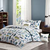 Ink+Ivy Kids Road Trip Twin Bedding Sets Boys Quilt Set - White Blue, Car – 3 Piece Kids Quilt For Boys – 100% Cotton Quilt Sets Coverlet