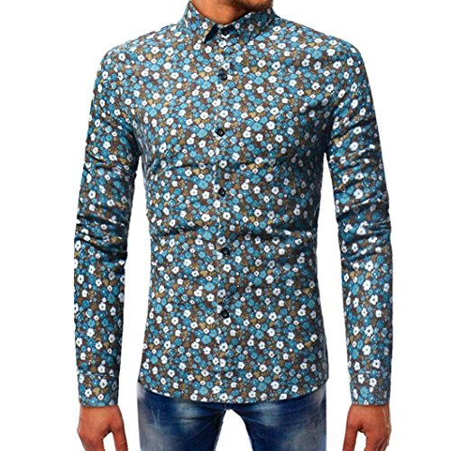 Elogoog Men Apparel Fashion Mens Printed T-Shirt Long Sleeve Casual Slim Fit Button Down Dress Shirts (Blue, L) (Adapter Long Sleeve)