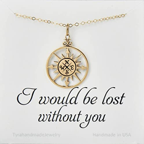 amazon com gold compass necklace with custom message card compass