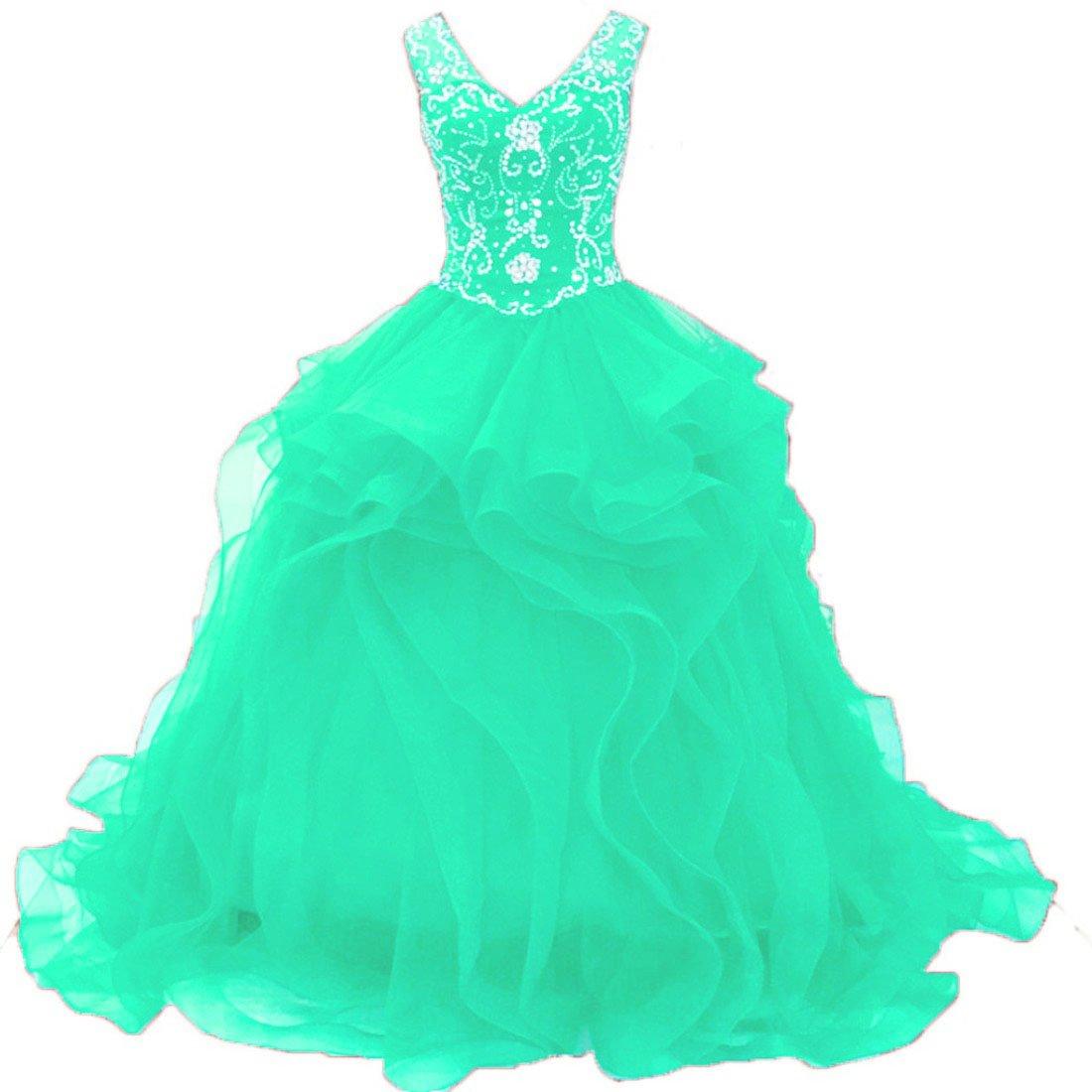 Cmint Diandiai Sweetheart Quinceanera Dress Beads Ruffles Ball Gown Prom Dress