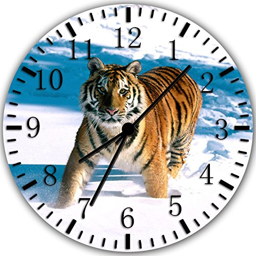 Borderless Tiger in The Snow Frameless Wall Clock W12 Nice for Decor Or Gifts