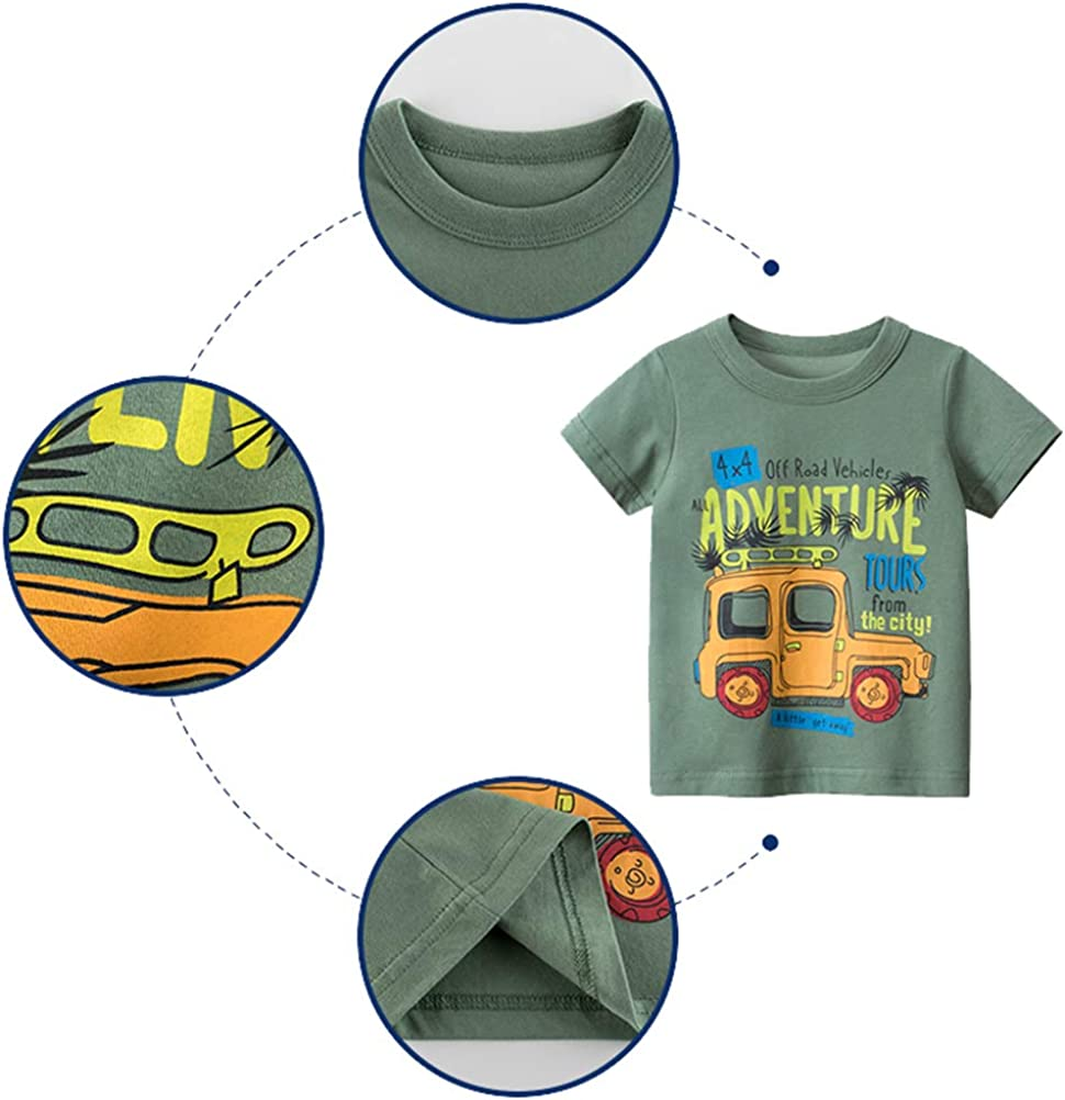 Fuyxxmer 4 Pack Toddler Boys Kids T-Shirt Cotton Cartoon Vehicles Pattern Printed Short Sleeve Tees T-Shirts 1-10 Years