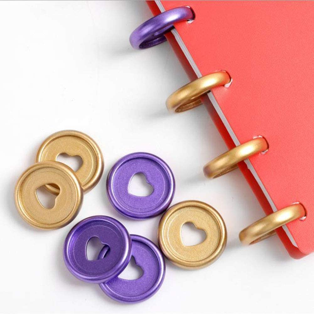 Upriver 100PCS Plastic Book Binding Discs Multicolor Heart Binding Ring Discs Binder Rings for DIY Notebooks Planners