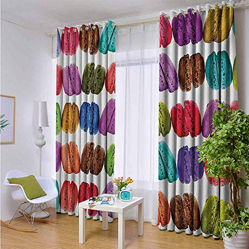 Outdoor Balcony Privacy Curtain Colorful,French Macarons in a Row Coffee Shop Cookies Flavours Pastry Bakery Food Design,Multicolor,W108
