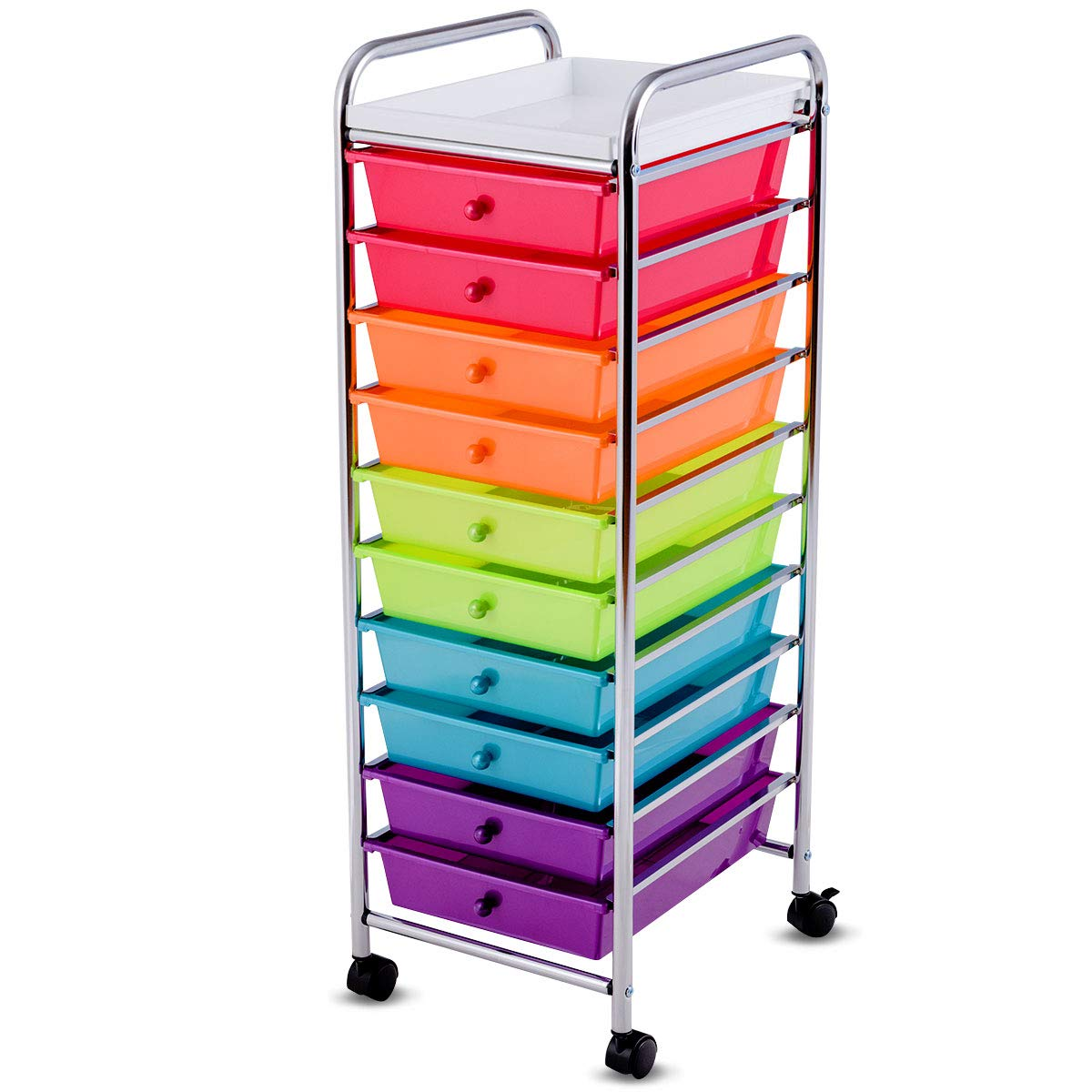 Giantex 10-Drawer Organizer Cart, Pearlescent Multi-Color Mobile Utility Trolley Cart Home Office School Scrapbook Paper Organizer Shelf w/Removable Top Tray, Multicolor by Giantex