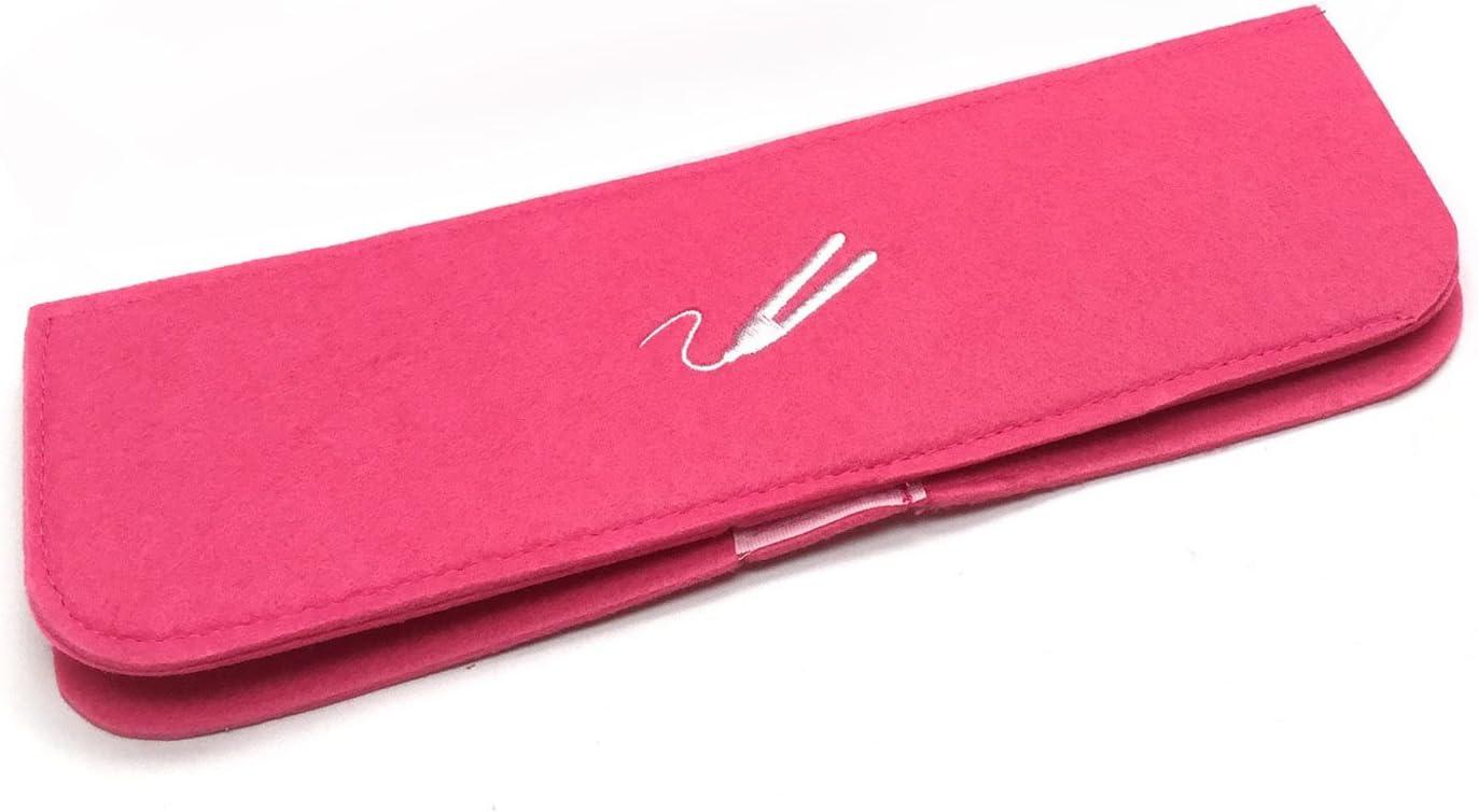 Alfombrilla térmica resistente al calor rosa con bolsa de viaje para alisadores de pelo