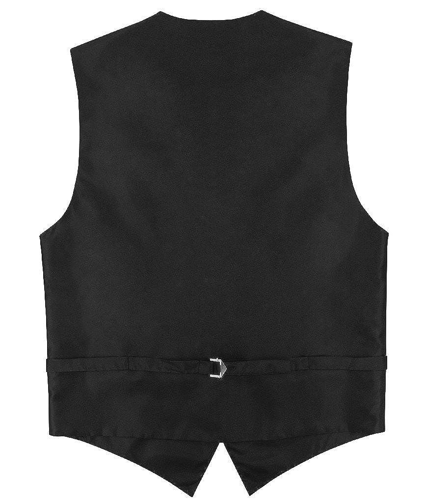 Mens Slim FIT Dress Vest Skinny Necktie Black 2.5 Neck Tie Hanky Set