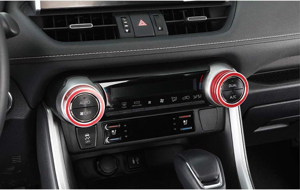 BLUE BOYUER 2PCS Aluminum Car Centre Console AC Air Conditioning Knob Button Cover For Toyota RAV4 2019 2020