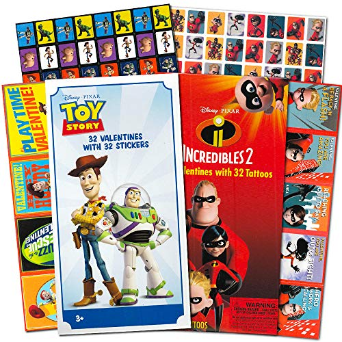 Disney Pixar Toy Story Valentines Cards for Kids Toddlers -- 64 Disney Pixar Valentine Cards with Stickers Featuring Toy Story, Incredibles and More (Boxed School Classroom Pack)