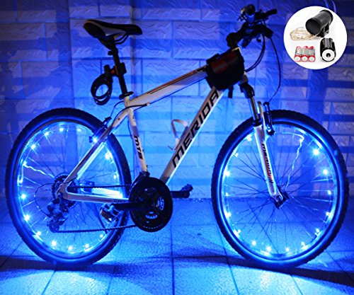LEDMO (2 pack)Bicycle Bike Rim Lights, 20 LEDs Blue Wheel Lights, LED String Light Blue Bicycle Bike Wheel Rim Copper Wire Starry Light , Perfect for Safety and Fun color Battery