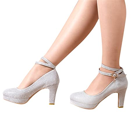 5567f504b28 Bridal shoes - wedding banquet dress shoes silver high heels (with high  8cm) - Women s wedding shoes (Color   Silver
